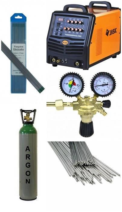 Pachet Aparat de sudura Jasic TIG 200P AC/DC Analogic E101 + Butelie Argon 10L + Reductor Presiune Argon/CO2 + Baghete Aluminiu ALSI5 + Electrozi Wolf