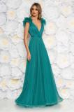 Cumpara ieftin Rochie Ana Radu verde de lux cu decolteu adanc din tul captusita pe interior cu bust buretat