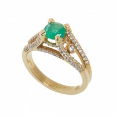Inel din aur roz 18K cu smarald si diamante, model de logodna, circ. 52 mm