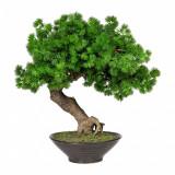 Cumpara ieftin Planta artificiala in ghiveci ceramic, Bonsai Larch Verde, H37 cm
