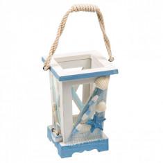 Felinar decorativ, 11x11x17 cm, material lemn, alb/albastru