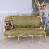 Sofa baroc din lemn masiv auriu cu tapiterie din matase verde CAT361A04