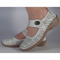 Pantofi platforma perforati albi piele naturala (cod B739894)