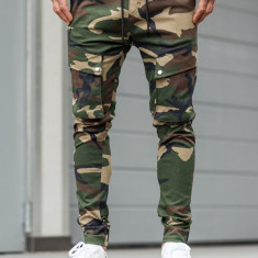 Pantaloni training cargo bărbați camuflaj-kaki Bolf 1003