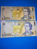 Bancnote de 1000 Lei 1998: 2 bucati cu filigrane BNR diferite: drept si inclinat