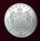 Moneda din argint 5 Lei 1881 DOMN  piesa Rara