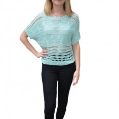 Bluza tricotata Nia cu perforatii,nuanat de turcoaz