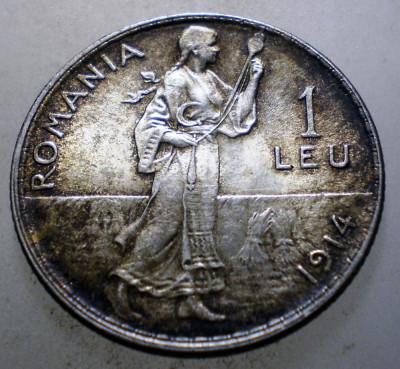 R.061 ROMANIA CAROL I 1 LEU 1914 XF/AUNC ARGINT 5g foto