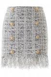 Cumpara ieftin Fusta Balmain, Balmain fringed tweed mini skirt TF14032K037 EAB Multicolor