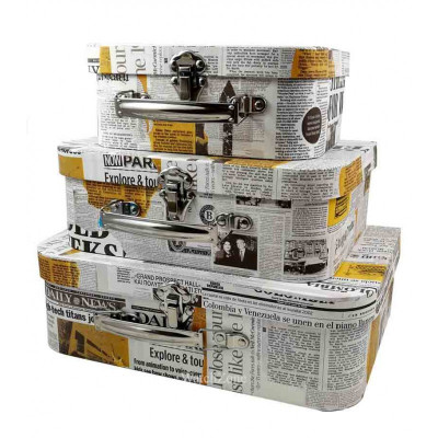 Cutie Pentru Depozitarea Bijuteriilor Set Trei Bucati NEWSPAPER WZ576 foto