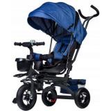 Tricicleta cu scaun rotativ, maner parental, copertina, cos depozitare, suport picioare, centura, culoare albastru, Ecotoys