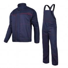Costum sudura intarit, 100% bumbac gros ignifug, 6 buzunare, bretele si mansete ajustabile, marime M/B