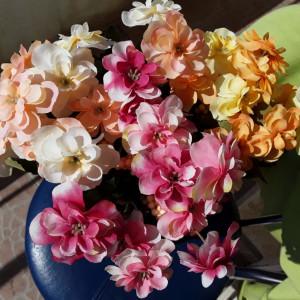 Buchet flori artificiale - AZALEE , H 30 cm   CREM, SOMON,  ORANGE, ROZ
