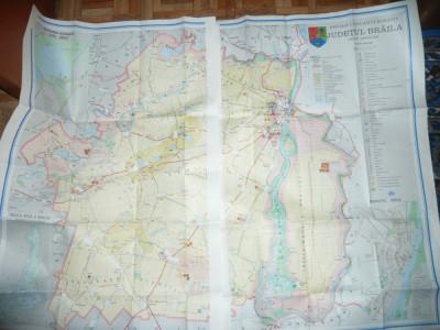 Harta Turistica a Judetului Braila 1985- 2 jumatati de 91x61cm fiecare foto