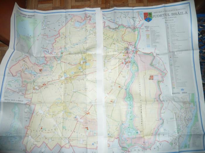 Harta Turistica a Judetului Braila 1985- 2 jumatati de 91x61cm fiecare