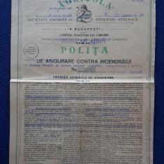 """Polita de asigurare 1919 """" Agricola """" - Contra incendiului"""
