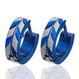 Cercei rotunzi din oțel - albaștri cu frunze de acacia
