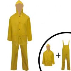 Costum de ploaie impermeabil cu glugă XL, galben, 2 piese