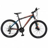 Bicicleta hidraulica MTB-HT Carpat C2681H 26 frane hidraulice disc negrurosu