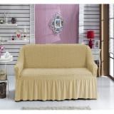 Husa canapea 2 locuri,elastic,creponata,cu volan