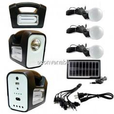 Kit Solar Lampa U, Lanterna LED 1W, USB, 3 Becuri, 6V 4Ah GDLite3 GD7