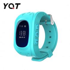 Ceas Smartwatch Pentru Copii YQT Q50 cu Functie Telefon, Localizare GPS, Pedometru, SOS - Turcoaz, Cartela SIM Cadou