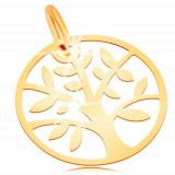 Pandantiv din aur 585 - lucios și plat, cerc cu copacul vietii