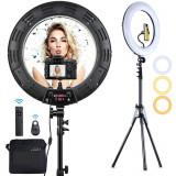 Cumpara ieftin Lampa Circulara Make up Profesionala cu Display, Ring Light 46 CM si 480 LED- uri cu Lumina Rece/Calda Tip Inel, cu Trepied 200cm, Adaptor,2 Telecomen