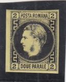 ROMANIA 1866 LP 18 CAROL I CU FAVORITI  2 PARALE NEGRU/GALBEN  POINCON L.PASCANU