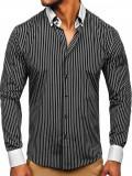 Cămașă elegantă pentru bărbat în dungi cu mâneca lungă neagră Bolf 0909