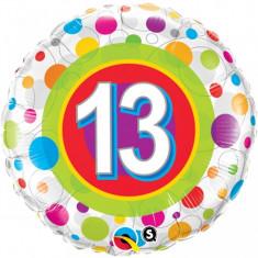 Balon aniversar 13 ani din folie cu buline 43cm