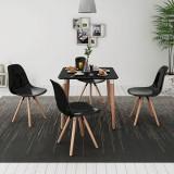 vidaXL Set de masă și scaune de bucătărie, cinci piese, negru