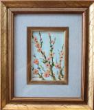 Tablou – frumoasă pictură în ulei cu flori de cireş – pictor italian, Impresionism