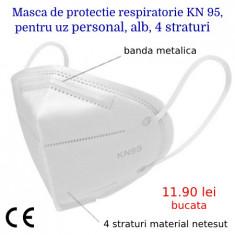 Masca de protectie respiratorie KN 95, pentru uz personal, alb, 4 straturi