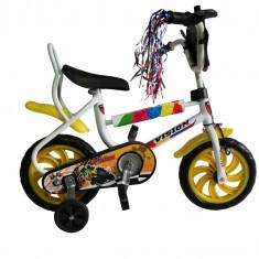 "Bicicleta Copii Vision Pexma Culoare Alb/Galben Roata 12"" OtelPB Cod:201218000109"