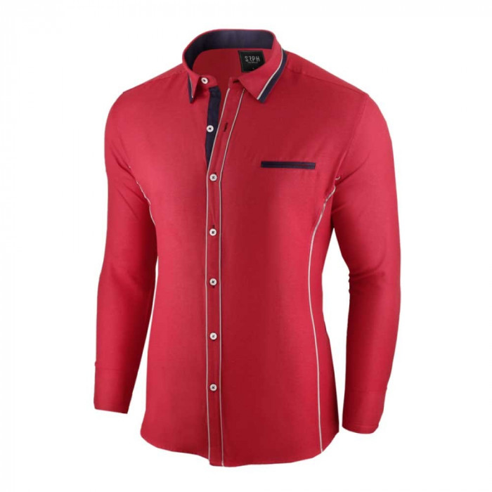 Camasa pentru barbati, rosu, slim fit - Allee de Longchamp