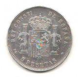 SV * Spania  5  PESETAS 1896 * ARGINT. 900 * Regele Alfonso XIII        VF+