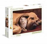 Cumpara ieftin Puzzle Imbratisare - Pui de pisica si catelus, 500 piese, Clementoni