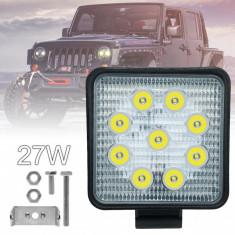 Set 2x Proiectoare auto patrate cu 9 LED, putere 27W
