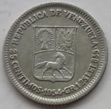 25 centimos Venezuela 1954, argint XF+++
