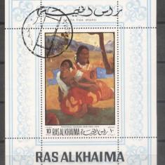 Ras al Khaima 1970 Paintings, perf.sheet, used AF.021