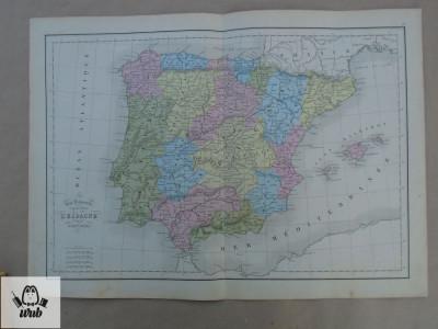 Harta color Spania 1900 foto