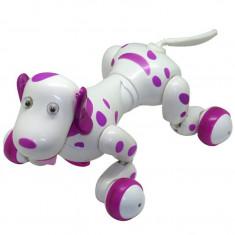 Robot Catel interactiv iUni Smart-Dog, telecomanda cu 24 comenzi, Alb-Roz
