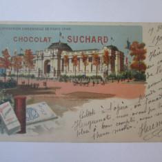 Carte postala circulataParis-Expozitia Universala 1900,reclama ciocolata Suchard