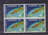 ROMANIA 1991  LP 1252  EUROPA 91 CEPT   BLOC DE 4 TIMBRE MNH