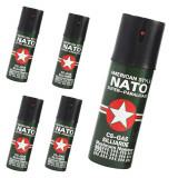 Cumpara ieftin Set 5 bucati spray autoaparare lacrimogen, paralizant, iritant cu piper Nato super paralisant 60 ml cutie