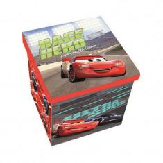 Taburet pliabil cu spatiu de depozitare SunCity, 30 x 30 x 30 cm, suporta 50 kg, model Cars