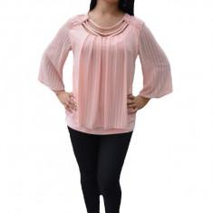 Bluza deosebita de ocazie, culoare roz pudra, cu dantela trendy