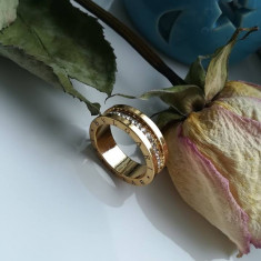 Inel Dama Fashion Placat Cu Aur BVLGARI / BULGARI Auriu Cu Strasuri