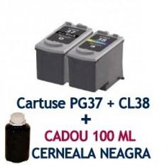 Pachet Cartus CANON PG37 + Cartus CANON CL38 + CADOU 100 ML cerneala BK ( PG-37..., Multicolor, Compatibil